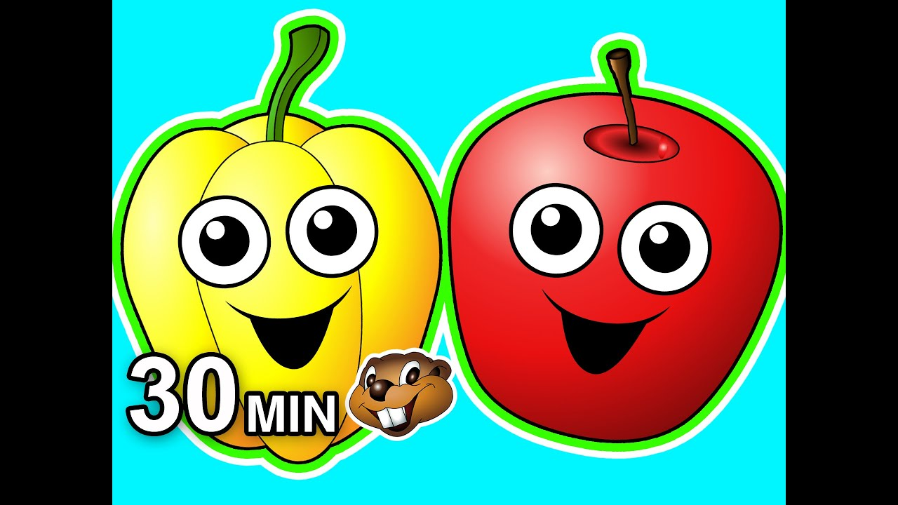 Healthy Snack Songs 30 Minute Collection Fruits Veggies Kids Nursery Rhymes Teach Babies Youtube