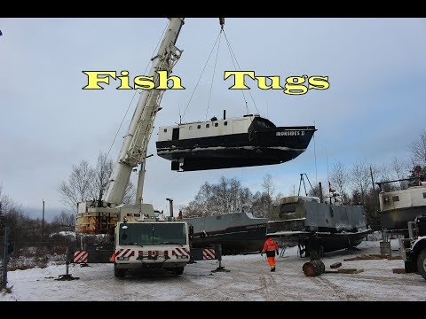 Fish Tug Boat Crane Lift Out Thunder Bay Winters Here