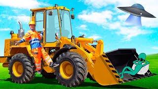 ТРАКТОР ЭКСКАВАТОР сломался, малыш на синем тракторе пришел на помощь