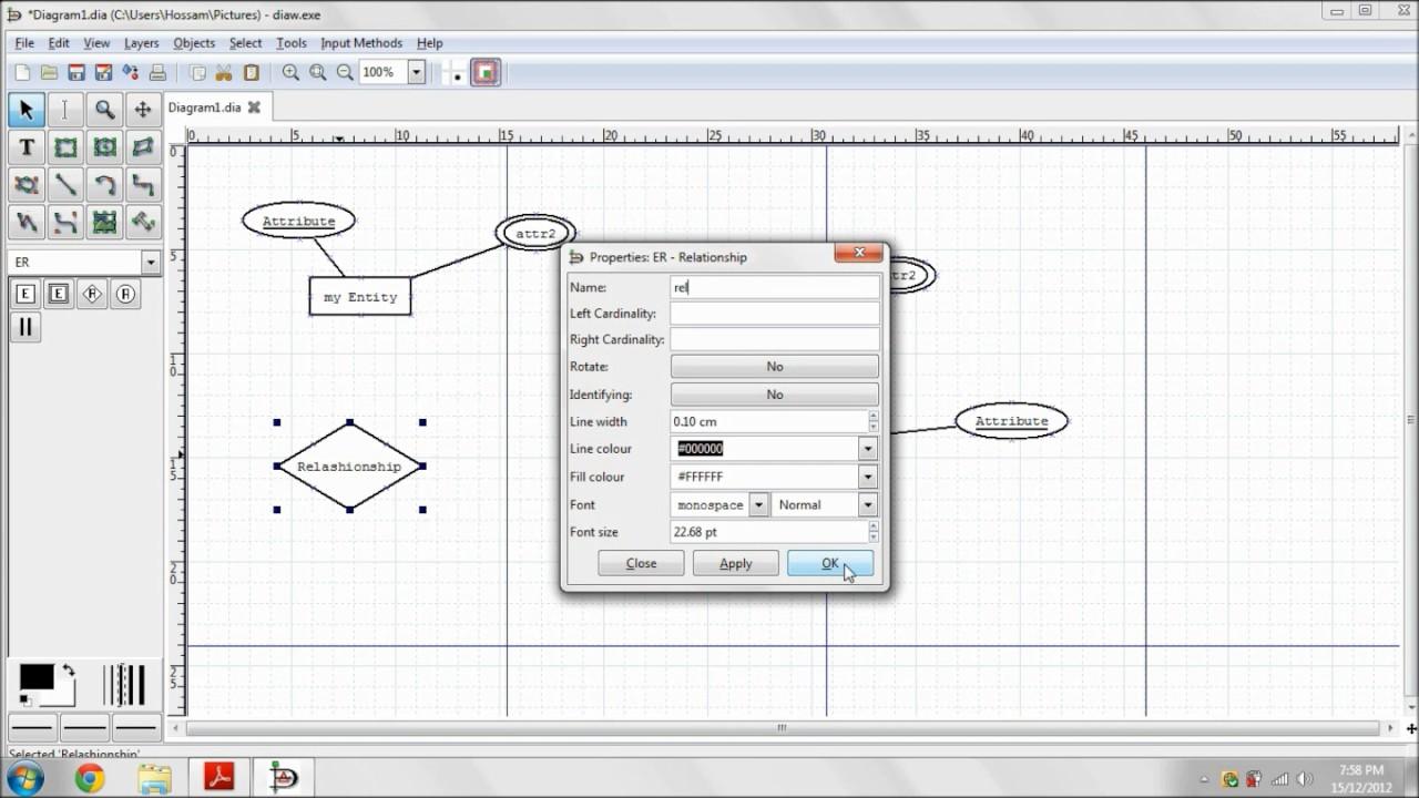 entity relationship diagram using dia [ 1280 x 720 Pixel ]