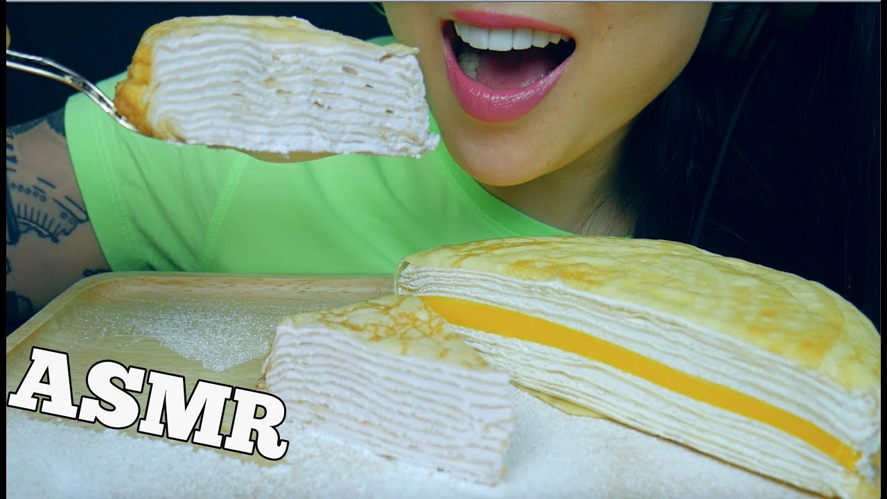 ASMR CREPE CAKE PLATTER (SOFT SQUISHY EATING SOUNDS) NO TALKING | SAS-ASMR