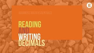 Reading and writing decimals -