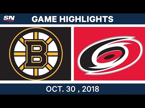 NHL Highlights | Bruins vs. Hurricanes - Oct. 30, 2018