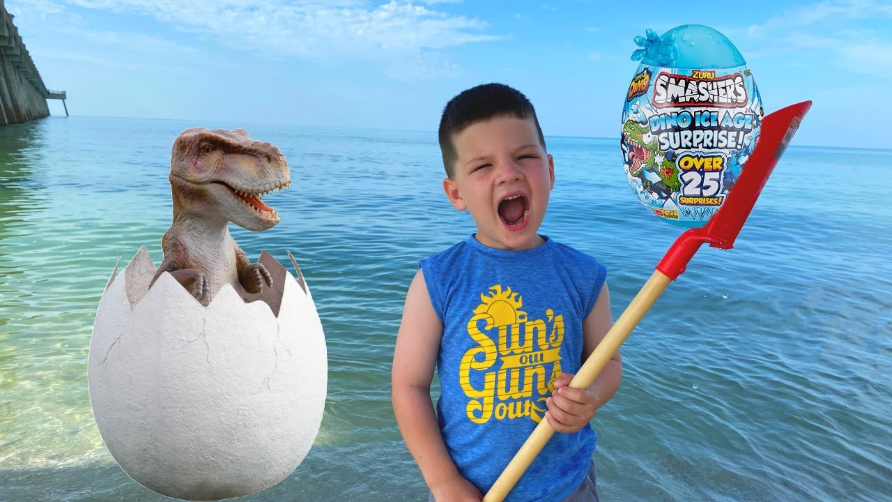 Dinosaur EGG on the BEACH!! Caleb & Mommy Find Giant Surprise Eggs in the Sand! Caleb Pretend Play