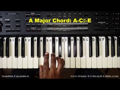 A major chord on piano and keyboard