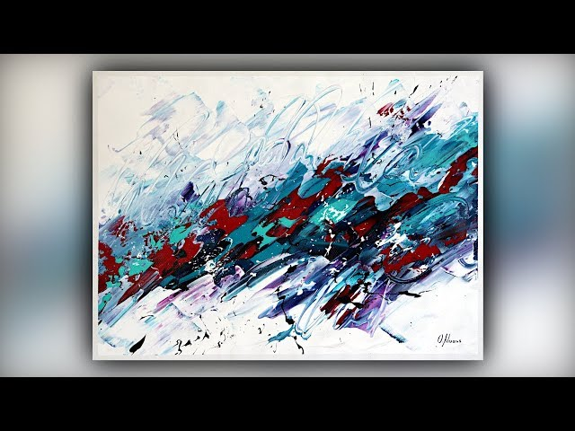 Easy Abstract Painting for Beginners / Palette Knife / Acrylics / Demo #085
