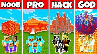 Minecraft: FAMILY MODERN LAVA HOUSE BUILD CHALLENGE - NOOB vs PRO vs HACKER vs GOD in Minecraft