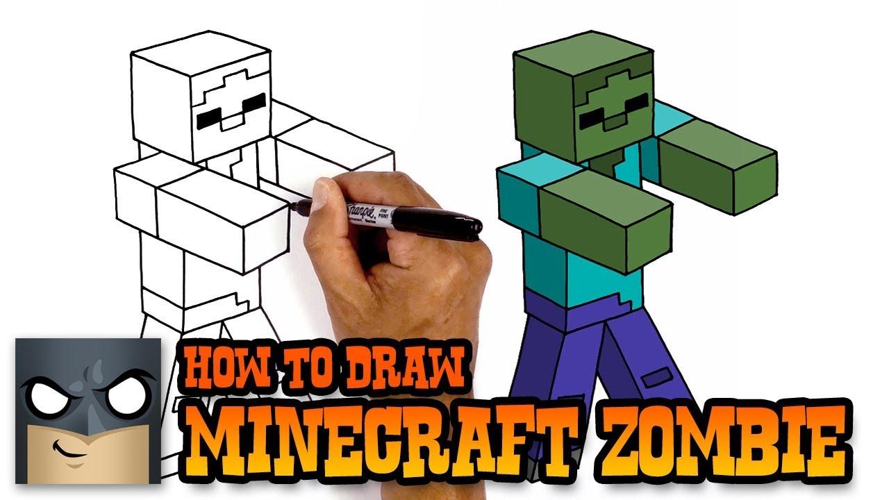 how to draw zombie minecraft art tutorial youtube