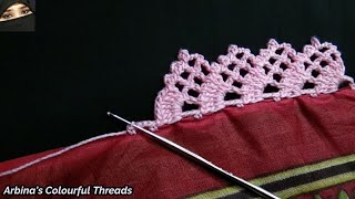 Crochet Beautiful Border Lace Design By @ARBINA'S COLOURFUL THREADS
