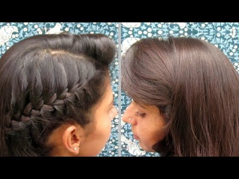 French Braid Updo Braid Hairstyle With Side Puff Youtube