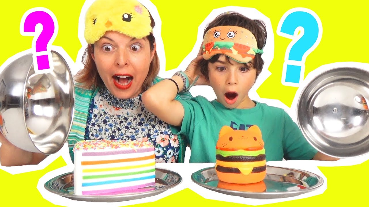 REAL FOOD vs SQUISHY FOOD CHALLENGE - VRAIE NOURRITURE contre GaTEAU & DONUT SQUISHIES - Demo ...
