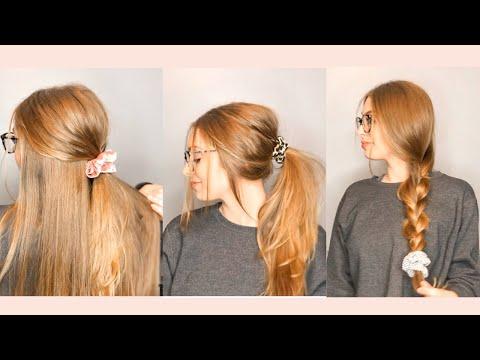 3 EASY Scrunchie Hairstyles for Medium or Long Hair!
