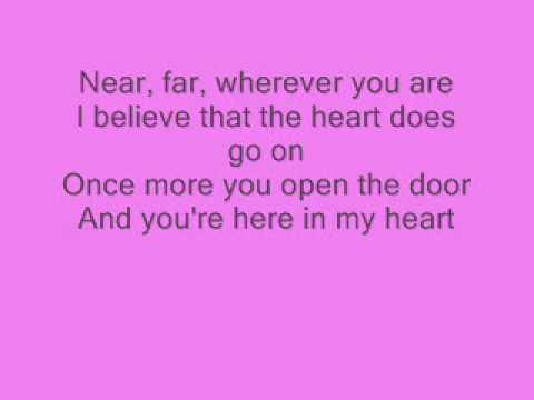 Celine Dion  My Heart Will Go On  with lyrics ;