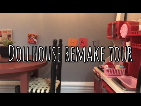 American Girl Doll Dollhouse Remake tour!    I repainted my room