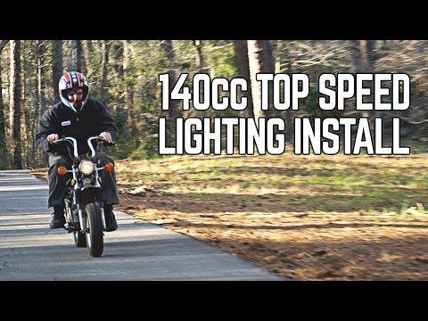140cc CT70 Top Speed Testing, Lighting Install!