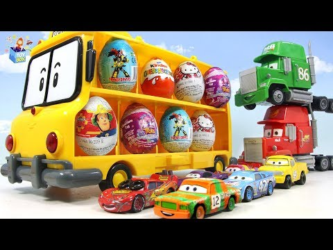 Learning Color Disney Cars Lightning McQueen School bus surprise Egg play for kids