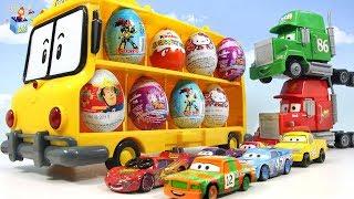 Learning Color Disney Cars Lightning McQueen School bus surprise Egg play for kids