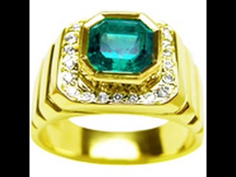 Fabulous Genuine Men's emerald rings, Colombian emerald rings for men - YouTube GJ47