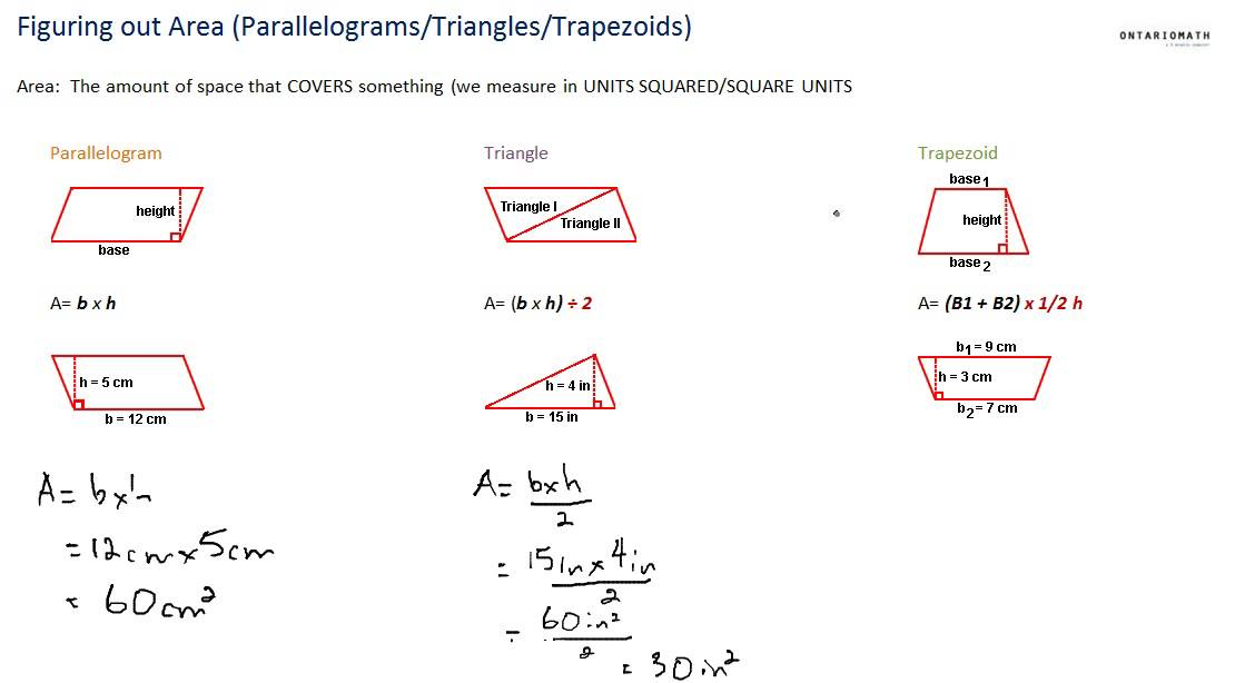 Finding areas of parallelograms triangles trapezoids YouTube – Area of Parallelograms Worksheet