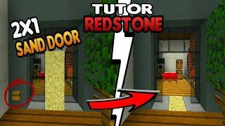 HOW TO MAKE SIMPLE 2X1 SAND DOOR ON MCPE || Tutor Redstone 1#