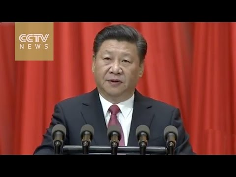 Chinese President Xi Jinping speaks at an event marking Dr. Sun Yat-sen's 150th birth anniversary