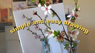 draw with me #001 a branch of flowering almond tree