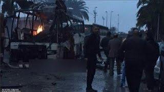 الفيديو الأول لموقع إنفجار حافلة للأمن الرئاسي بالعاصمة التونسية