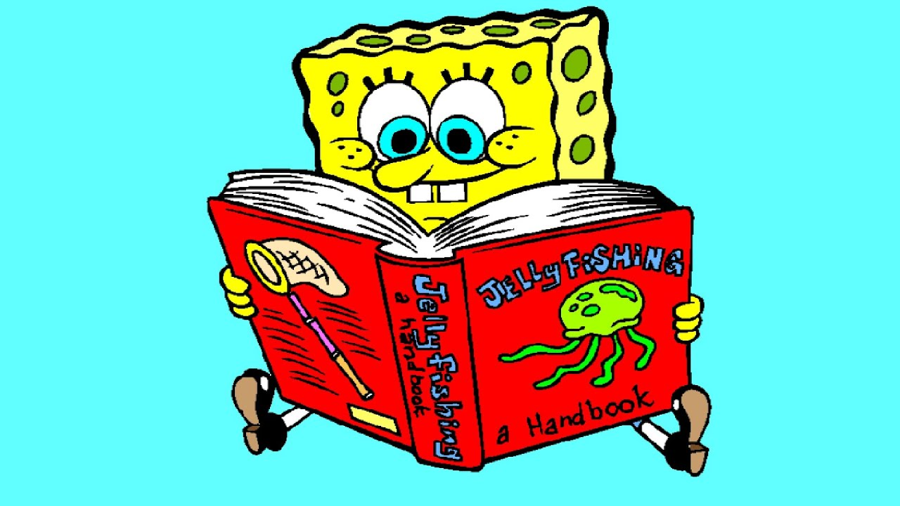 SpongeBob SquarePants Reading Book About Jelly Fish Coloring Page ...