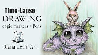 Time-Lapse Pen and Copic Marker Drawing | Dragon Pugo and Peaches