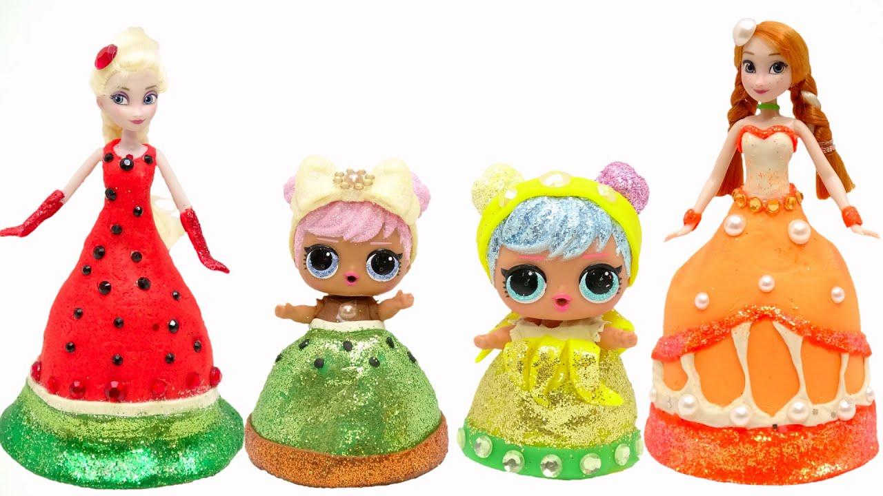 アナと雪の女王とプリンセス キラキラ フルーツドレスに変身❤DIY ねんどの手作り衣装 お姫様 エルサ  LOL サプライズドール ✨Barbie 手作り工作 DIY❤️ミニチュアドール