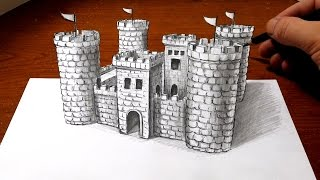 Drawing a Castle - 3D Art Optical Illusion
