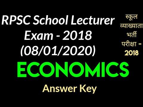 ECONOMICS RPSC School Lecturer Exam 2018 (08/01/2020 ...