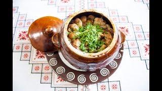 СТРАВИ В ГОРЩИКАХ Мясо з квасолею та грибами❤️Блюда в горшочках Мясо с фасолью и грибами