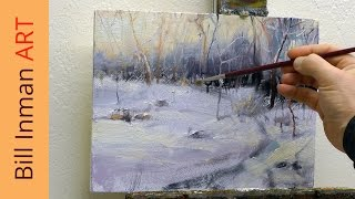 How to Paint Winter Snow - Art Class Oil Painting Demo by Bill Inman
