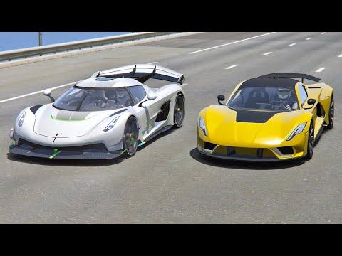 Hennessey Venom F5 vs Koenigsegg Jesko – Drag Race 20 KM