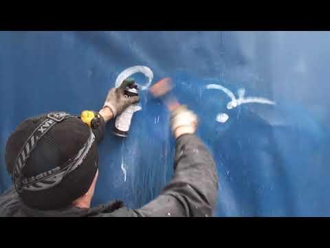 Отмываю тент газель от граффити рисунков