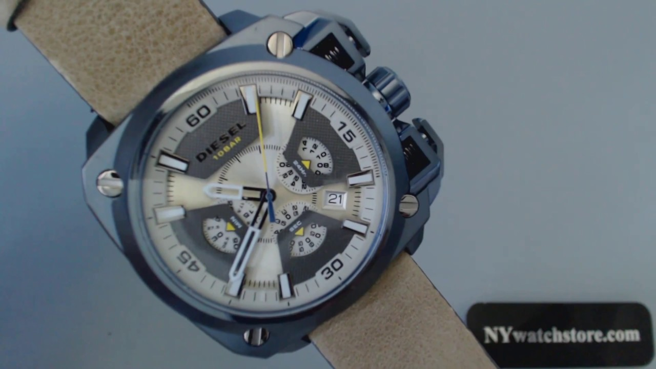9dddb6a30de Men s Diesel Bamf Chronograph Leather Strap Watch DZ7342 - YouTube
