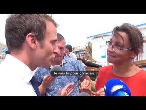 Face à une habitante de Saint-Martin en colère, Emmanuel Macron promet de revenir