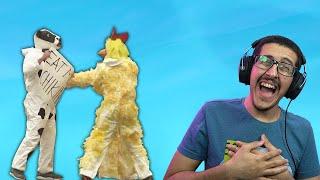 حرب بين الدجاج و البقر 🐔vs🐮 .. ( تضحك تخسر 😂 )