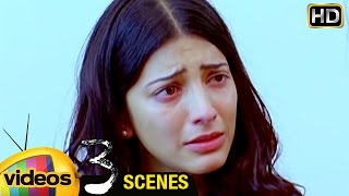 Shruti Haasan Cries for Dhanush | 3 Telugu Movie Scenes | Dhanush | Sivakarthikeyan | Anirudh