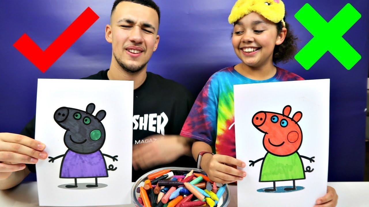 3 Marker Challenge With Peppa Pig Toys Andme Youtube