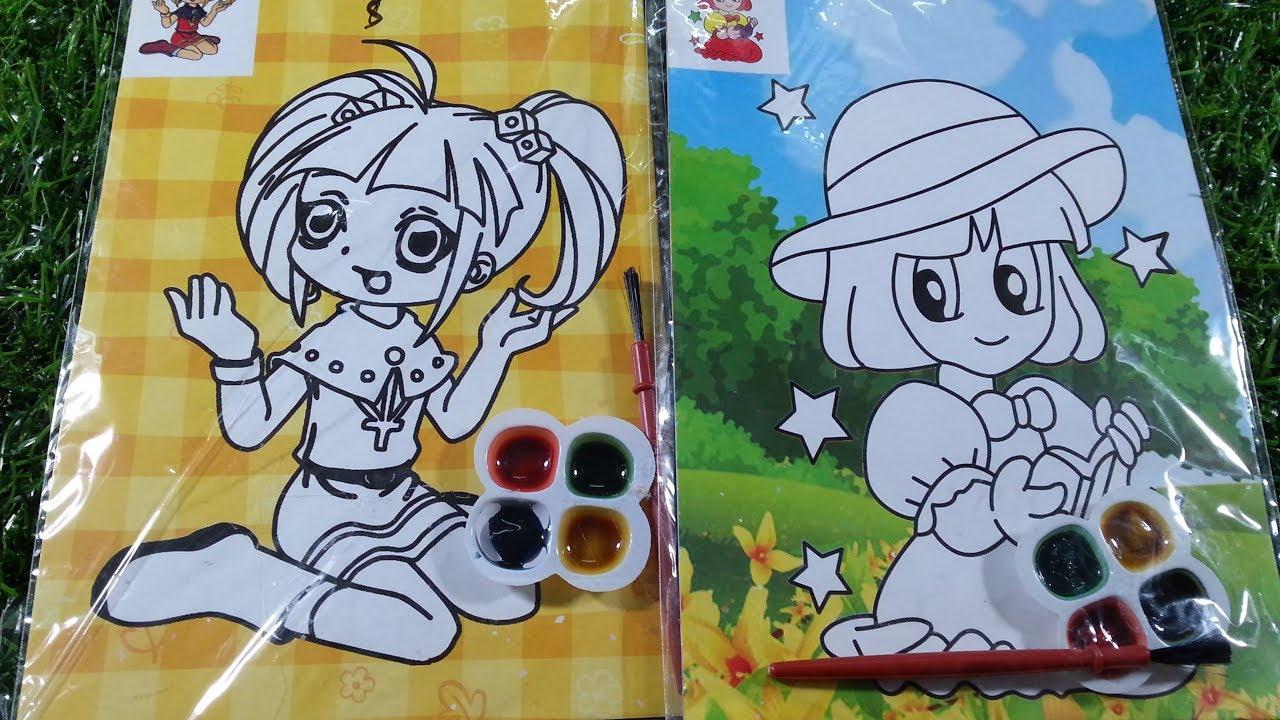Mới: Bút thỏ ngồi trên Pompom/Tranh tô màu nước/Sổ dán hình công chúa ngày 2/11/2019