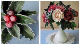Падуб или остролист из фоамирана часть 1. Для зимних композиций.