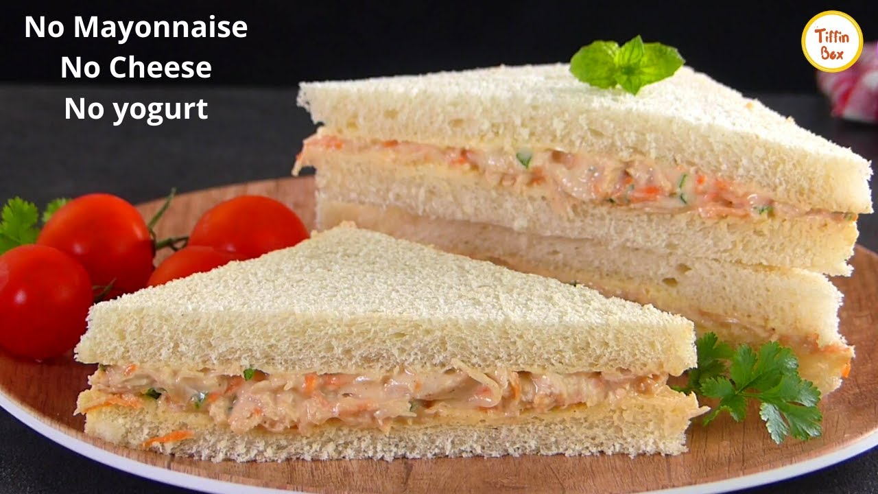 No Mayonnaise, No Yogurt, No Cheese, Easy Chicken Sandwich Recipe by Tiffin Box|White Sauce Sandwich