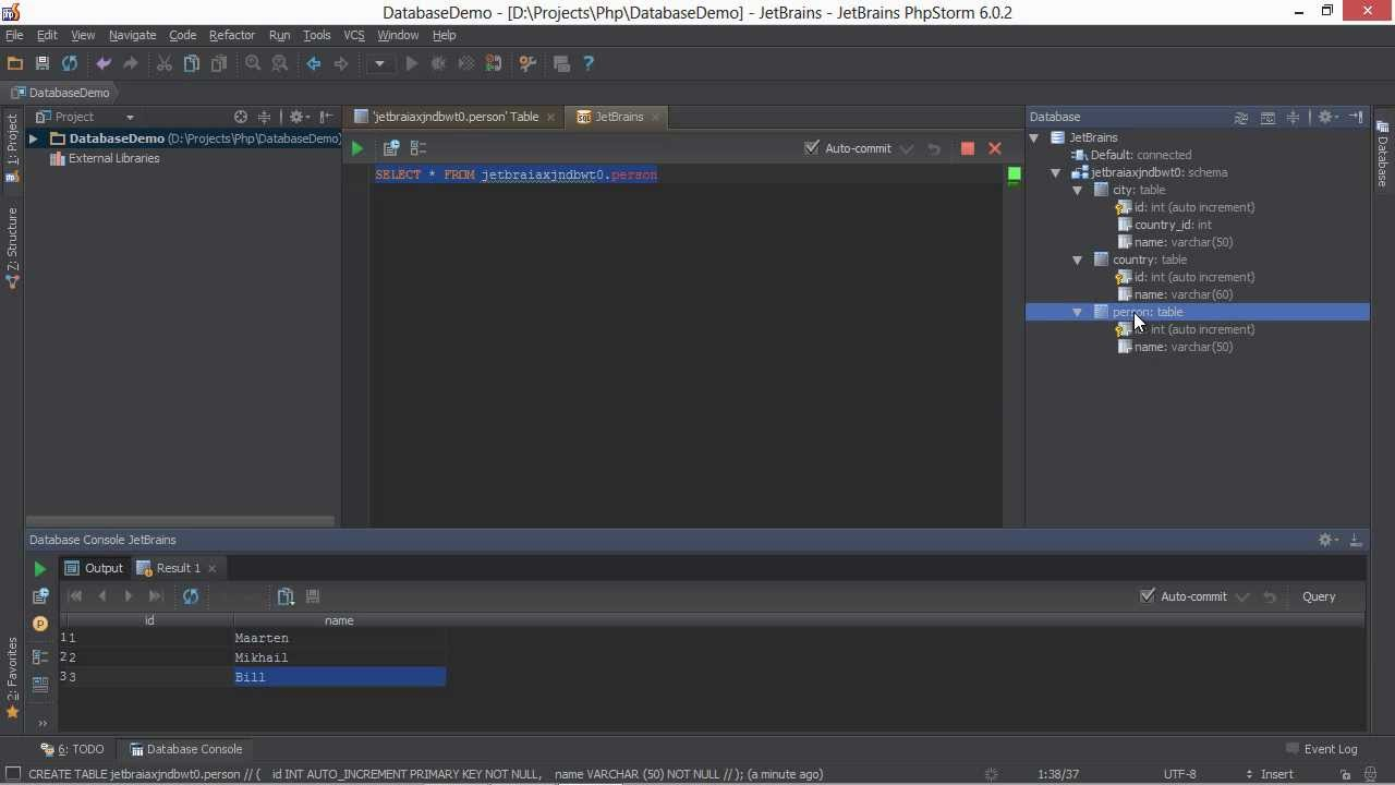 Databases and SQL Editor in PhpStorm - PhpStorm Video Tutorial