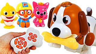 Bow-wow~! Baby shark's got a cute Puppy! Dancing Touch Dog | PinkyPopToy