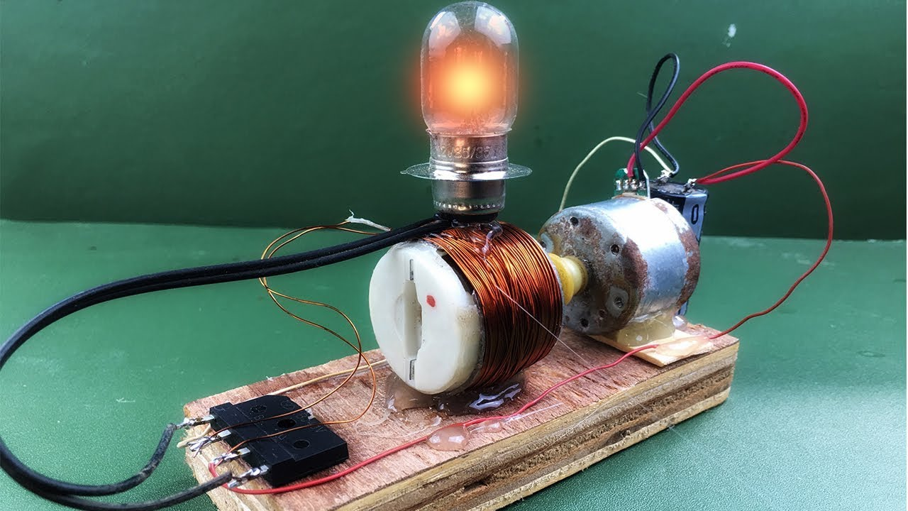How to make diy electricity free energy generator in dc motor magnet -  Science experiment project