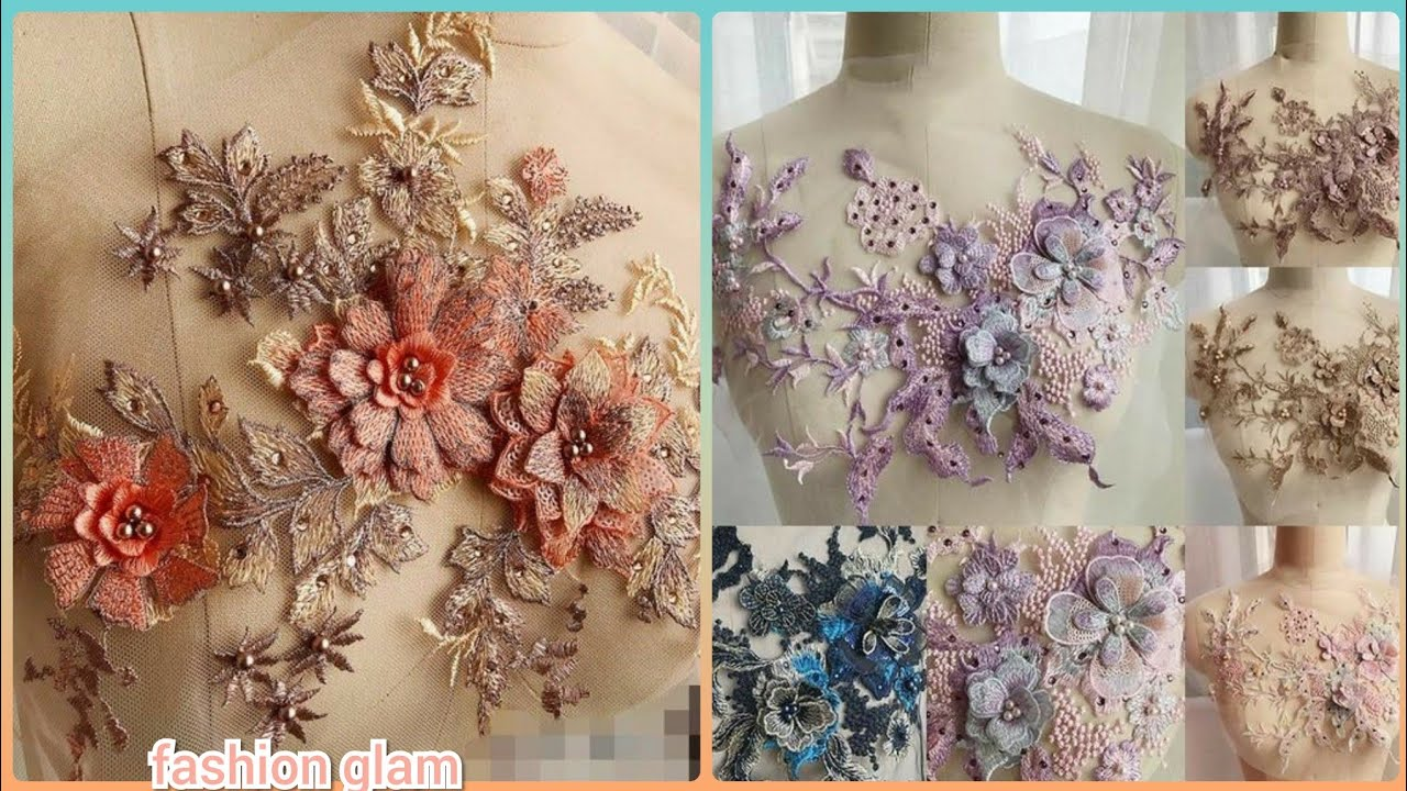 3d bridal gowns drilling floral lace embroidery applique styles