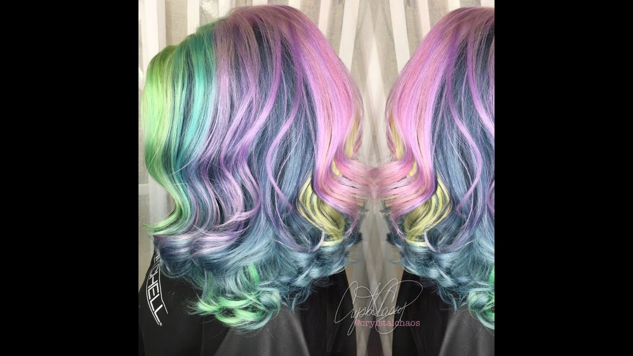 gunmetal pastel rainbow hair color