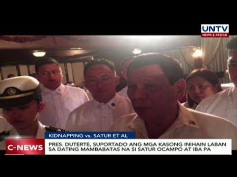Pangulong Duterte, suportado ang mga kasong inihain laban kina Satur Ocampo, et. al